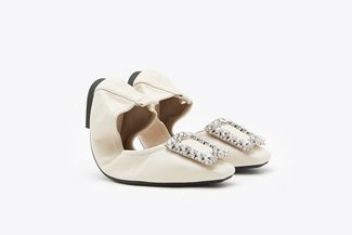 733-10A Beige Crystal Buckle Embellished Foldable Flats