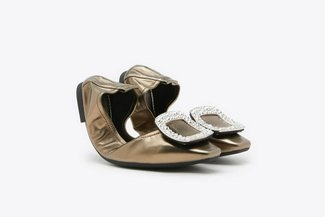 733-2 Bronze Crystal Buckle Leather Foldable Flats