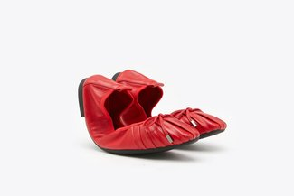 733-3 Red Square Toe Ribbon Pleated Foldable Leather Flats