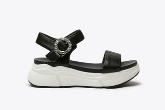 969-2 Black Bejewelled Flatform  Sandals