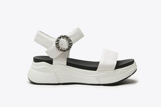 969-2 White Bejewelled Flatform  Sandals