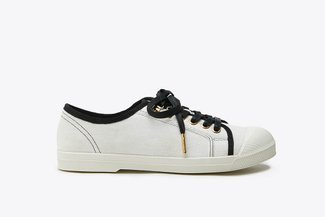 B1933-12 Beige Denim Laced Sneakers
