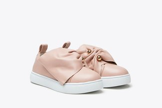 BB8898-206 Pink Kids Side Ruffled Bow Leather Slip On Sneakers