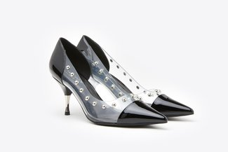 LT8208-7A Black Pointy Toe Studded Clear Leather Heels