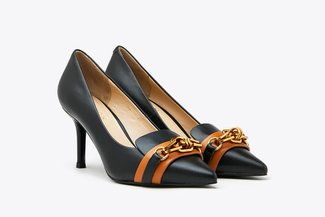 LT828-55 Black Gold Chain Leather Heels