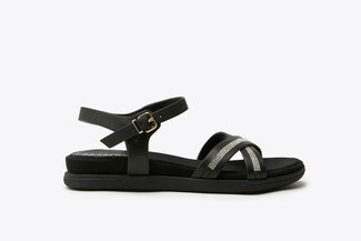P4-8 Black Diamante Cross-Strap Leather Sandals