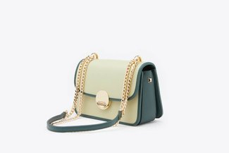 SB-D275 Green Metallic Chain Two-Tone Push Lock Leather Shoulder Bag