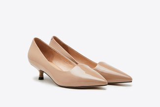 T889-25 Almond Glossy Kitten Patent Leather Pointy Pumps