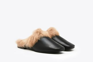 R9381-1 Black Leather Fur Mules
