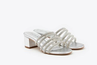 8533-4 Silver Diamante Embellished  Sandals