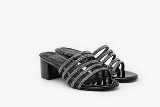8533-4 Black Diamante Embellished  Sandals