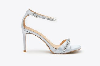 8907-1 Grey Crystal Embellished Ankle Strap Satin Sandal Heels