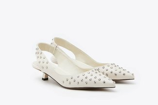 LT233-30 Beige Studs Embellished Slingback Leather Pumps