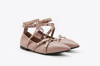 3660-35 Taupe Strappy Pointy Toe Leather Ankle Ballet Flats