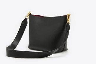 SB-D201 Black Leather Angled Cross Body Leather Bag