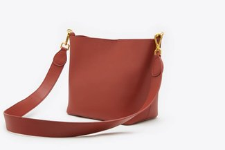 SB-D201 Brick Red Leather Angled Cross Body Leather Bag