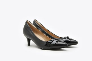 898-7  Black Patent Draped Leather Mid Pointy Heels