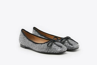 1338-25 Black Sequin Ribbon Ballerina Flats