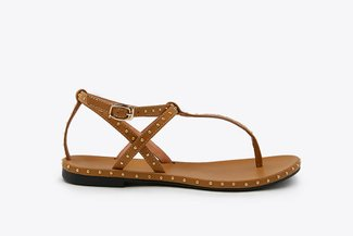1501-11 Brown Studded Strappy T-bar Leather Sandals