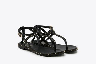 1501-11 Black Studded Strappy T-bar Leather Sandals