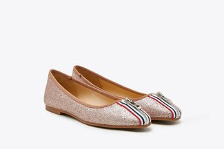 1718-51 Champagne Stripy  Zipper Glittered Leather Flats