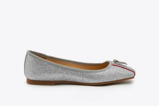 1718-51 Silver Stripy  Zipper Glittered Leather Flats