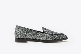 232B-10 Black Glitter Covered Loafers