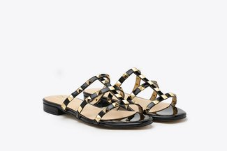 2597-1 Black Gold Studded Cage Patent Leather Slides