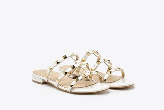 2597-1 White Gold Studded Cage Patent Leather Slides