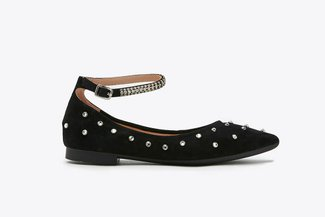 3038-3 Black Crystal Embellished Ankle Strap Flats