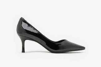 335-1 Black Classic Pointed Toe Leather Pumps
