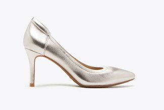 3605-30 Light Gold Metallic Leather Pointy Heel