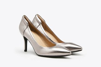 3605-30 Pewter Metallic Leather Pointy Heel