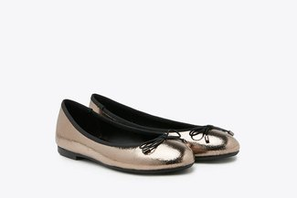 3792-1 Pewter Metallic Ribbon Ballerina Leather Flats