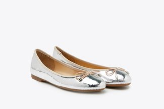 3792-1 Silver Metallic Ribbon Ballerina Leather Flats