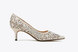 5619-12 Almond Crystal Embellished Pointy Leather  Heels