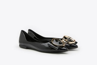 6001-6 Black Oversized Ring Buckle Patent Low Heels