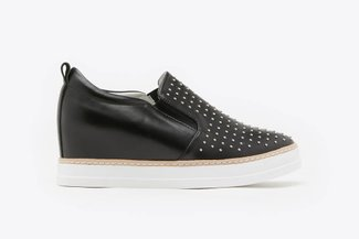 8068-3 Black Micro Stud Embellished Wedge Sneakers