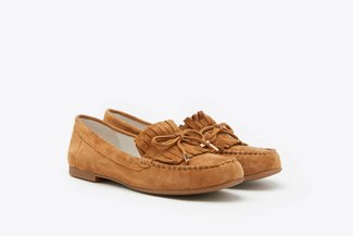 8328-11 Camel Fringe Lace-Up Leather Loafers