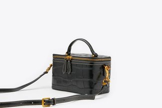 B084 Black  Structured Croc Effect Leather Top-Handle Box Bag
