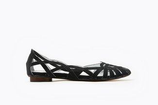 JS51-18 Black Glitter Weaved Flats