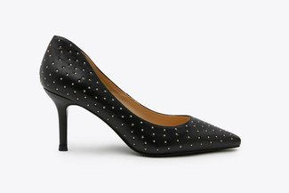 LT828-56 Black Micro Stud Embellished Pointed Pumps