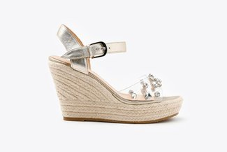 3907-9 Gold Crystal Embellished Leather Espadrille Wedge