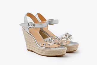 3907-9 Silver Crystal Embellished Leather Espadrille Wedge