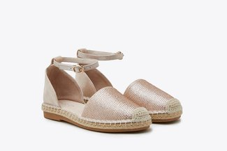 736-821 Champagne Diamante Embellished Ankle Strap Espadrilles