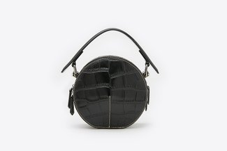 B080 Black Glossy Croc Effect Circle Top-Handle Bag