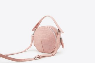 B080 Pink Glossy Croc Effect Circle Top-Handle Bag