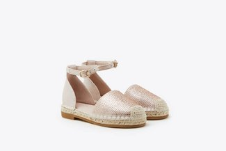 BB736-821 Champagne Kids Diamante Embellished Ankle Strap Espadrilles