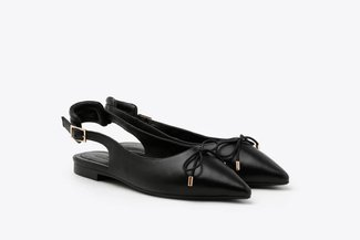 533-1 Black Slingback Bow Leather Pointed Ballet Flats