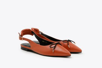 533-1 Brick Red Slingback Bow Leather Pointed Ballet Flats